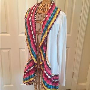 🌈 Beautiful rainbow knit + cream cardigan 🌈